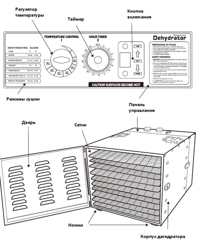 Дегидратор для сушки овощей EWT INOX FK02
