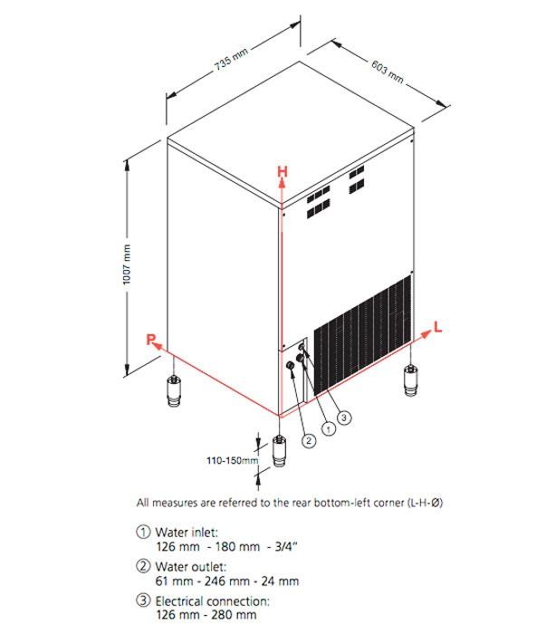 Льдогенератор кубикового льда NTF SL260W