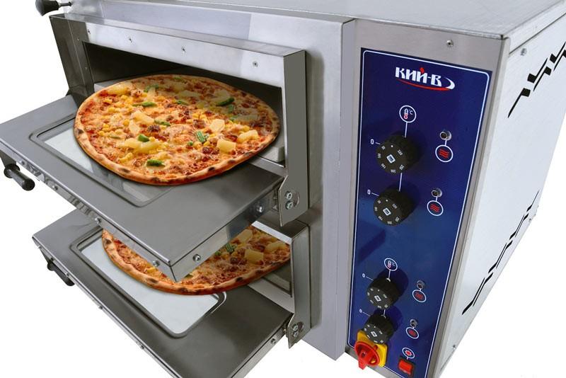 Печь для пиццы поставляется с дверцами, имеющими окно из двойного термостойкого стекла.