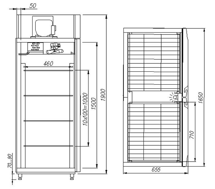 Холодильный шкаф Полюс R1120 Сarboma INOX