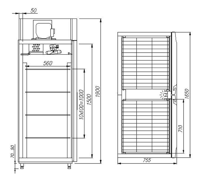 Медицинский холодильный шкаф Полюс V1400 Сarboma INOX
