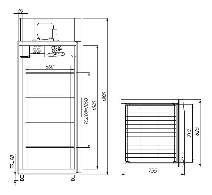 Морозильный шкаф Полюс F700 Сarboma INOX
