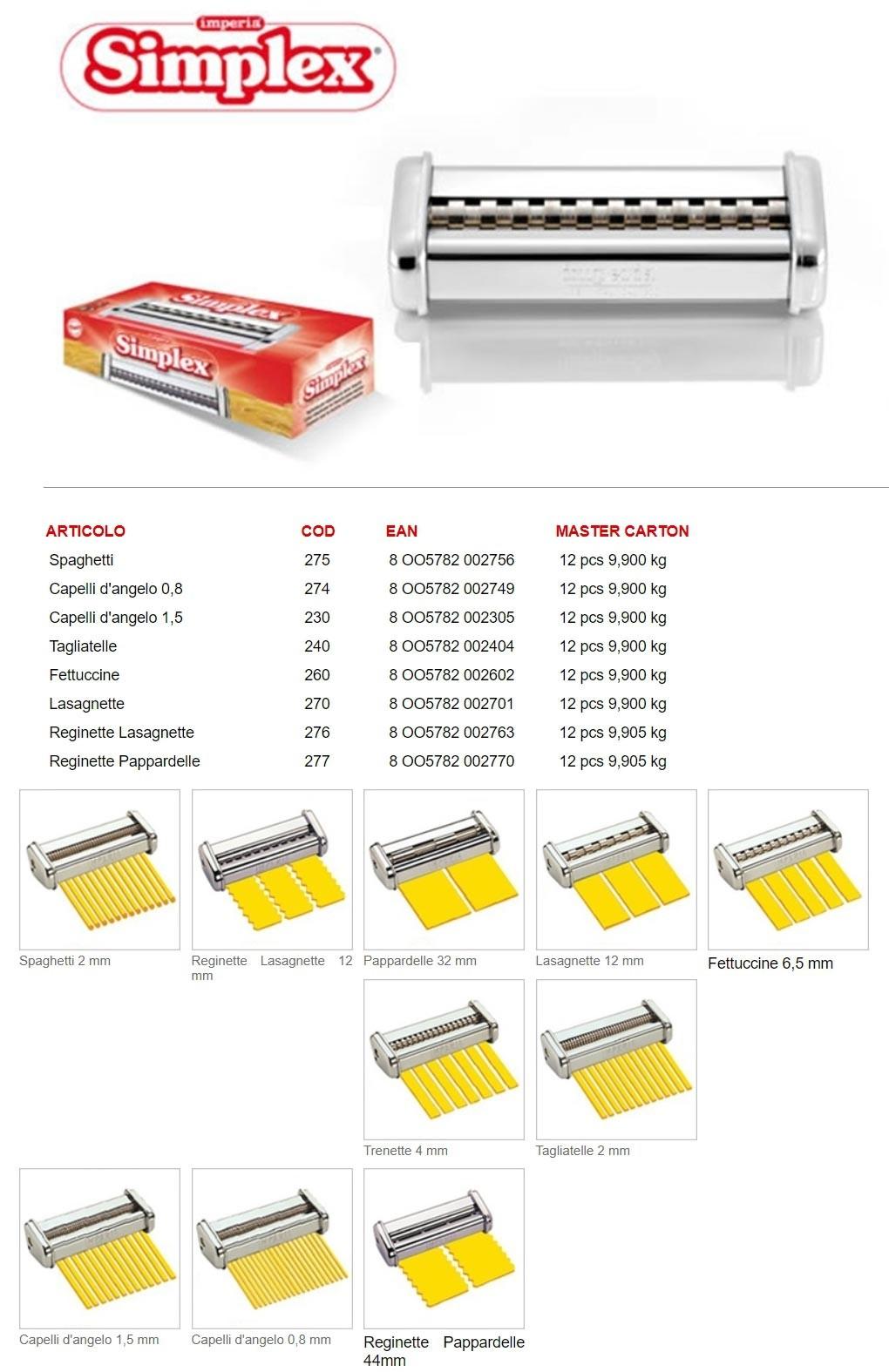 Насадки Simplex для лапшерезки Imperia iPASTA SP.150 cod.100