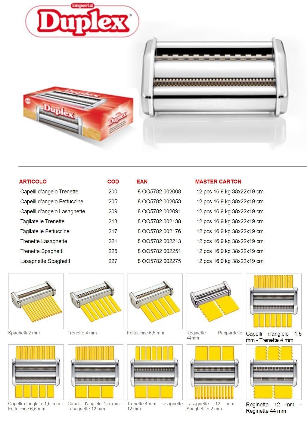 Насадки Duplex для лапшерезки Imperia iPASTA SP.150 cod.100