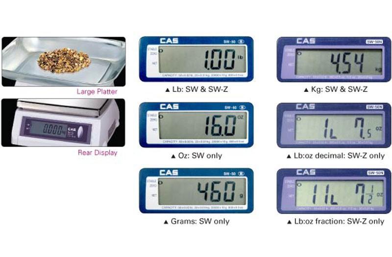 Весы фасовочные CAS SW виды дисплеев