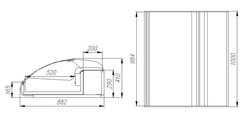 Витрина тепловая Полюс А89 SH 1,0-1 (ВТ-1,0 Арго XL Техно)